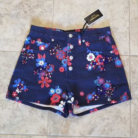Juicy Couture Pants - NEW JUICY COUTURE MOM JEAN SHORTS FLORAL JEWELED